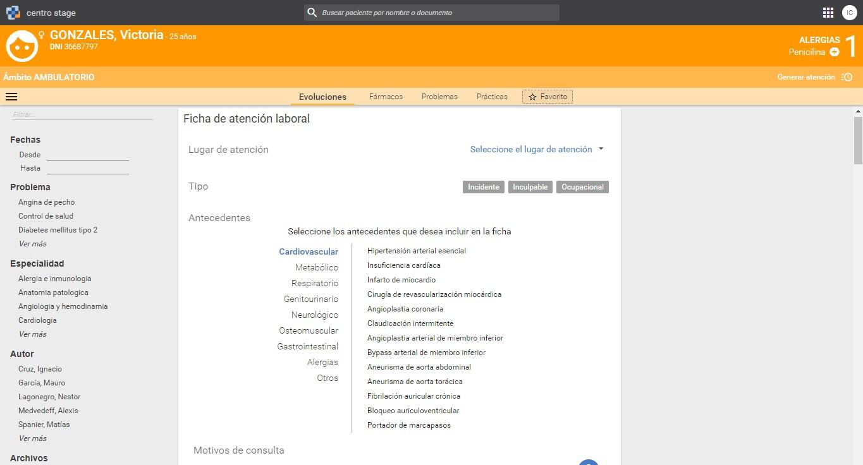 Comienzo de la ficha con problemas vinculados al servidor terminológico del HIBA.
